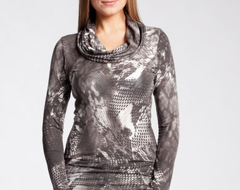 Women's Long Sleeve Cowl Neck Knit Jersey Top #3005 Taupe Printed 65.00