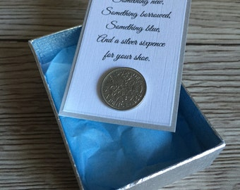 Silver sixpence for her shoe, Bride wedding day gift, something old, something new, something blue, wedding tradition