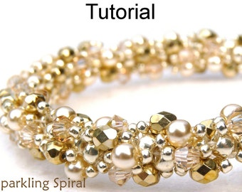 Spiral Stitch Beading Patterns - Jewelry Making Tutorials - Beaded Bracelets and Necklaces - Simple Bead Patterns - Sparkling Spiral #424