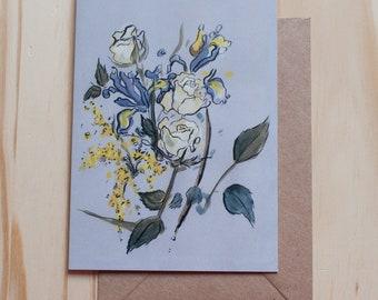 Iris & Rose Greetings Card - Blank Inside