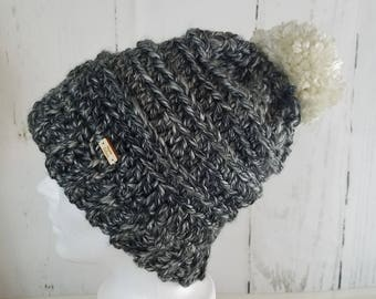 Cassie Beanie with POM-POM.Ready to Ship//BLACK Marble Beanie//Over-sized Pom Pom//Crochet Beanie//Knit Beanie//Super Soft