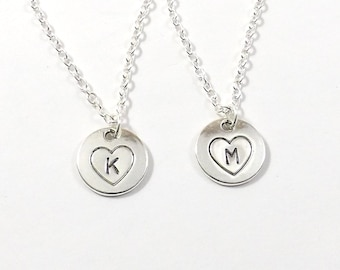 2 Best Friend Initial Necklaces, Hand Stamped Initial Necklaces, Sisters Necklaces, Best Friend Jewelry, Sister Jewelry