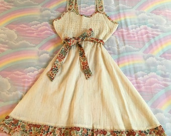 Vintage Ivory Bohemian Smocked Semi Sheer Gauze Floral Summer Dress With Tie Belt