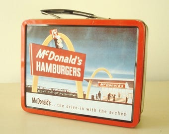 McDonald's lunchbox, Golden Arches, 15-cent hamburger, Speedee McDonald, 1998 lunch box with retro graphics, like new condition