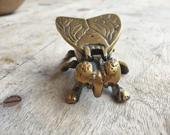 Vintage Brass Fly Vesta Match Box with Flip Top Insect Decor, Trinket Holder, Gift for Men
