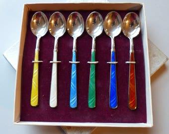 Vintage Codan Mexico Sterling and Enamel Demitasse Spoon Set of Six