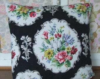 Black Floral Cushion Cover