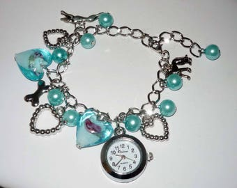 Blue Bead Watch Charm Bracelet with Greyhound or Whippet and Dog Charms