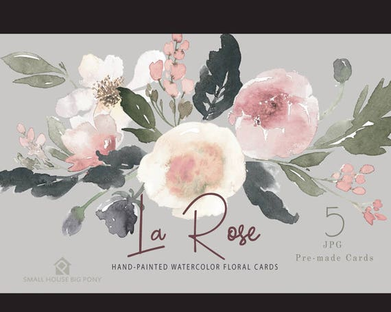 Watercolour Flower Frames Set - Hand Painted Graphics,  beige flower,  hand drawn watercolor,  flower Cards - La Rose Cards