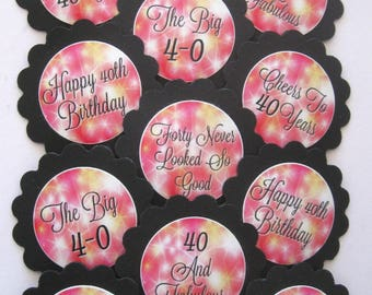 40th Birthday Cupcake Toppers/Party Picks Item #1703