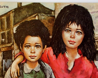 Vintage Lithograph - Brother and Sister - Roth - DAC - New York