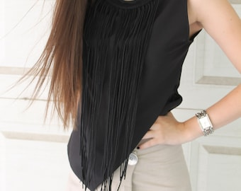 Macrame Top | Fringed Top | Sleeveless Top | Scoop Neck Top by Silvia Monetti