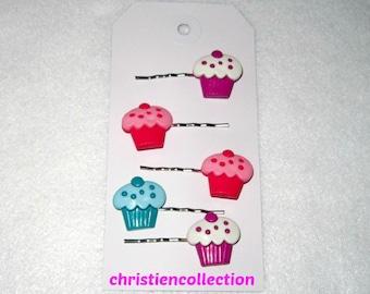 Birthday Cupcake Hair pins, Toddler Hair pins, Adult Hair Accessories, First Birthday Hair Accessories, Hair Clips, Teen Hair Accessories