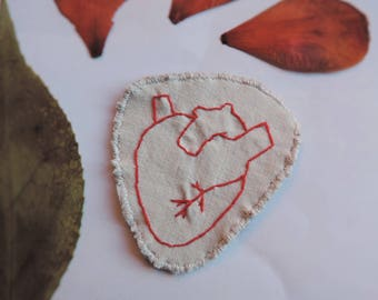 Patch anatomical heart hand embroidered on felt