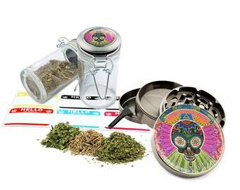 "Psychedelic - 2.5"" Zinc Alloy Grinder & 75ml Locking Top Glass Jar Combo Gift Set Item # 110514-0002"