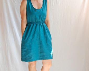 Linen Dress Handmade Elastic Waist