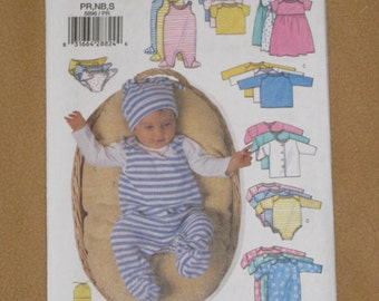 Uncut Pattern - Butterick 5896 - Infant Jacket, Dress, Top, Romper, Diaper Cover and Hat pattern