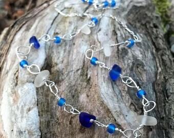 "Sterling Silver Winter Seaglass Necklace -Scottish White & Cobalt Blue Sea Beach Glass - 19.25"" Chain"