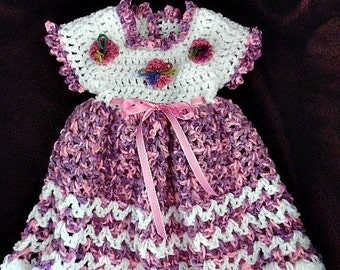 Baby Dress Crochet Pattern #963 - Patterns for kids, babies - Newborn to age 6,  children's clothing,