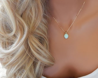 Opal Pendant • White Opal Jewelry • October Birthstone • Mother Gift • Bridal Jewelry • Gift for Girlfriend • Dainty Gold Necklace