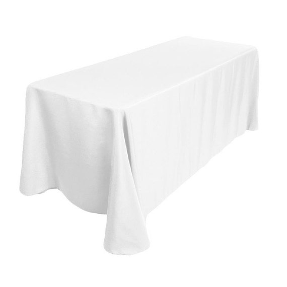 90x132 Inch Banquet Polyester Tablecloth 90x132 White