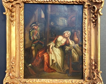 Antique Oil Painting Framed Tin Highest Quality 1850