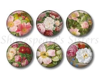 Flower Magnets - Fridge Magnets - Flower Art - 6 Magnets - 1.5 Inch Magnets - Kitchen Magnets