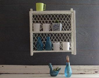 Vintage - White- Wicker storage shelf – Rattan Shelf - mid century – Boho décor