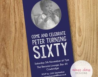 Personalised Sixty (60th) Birthday Invitations