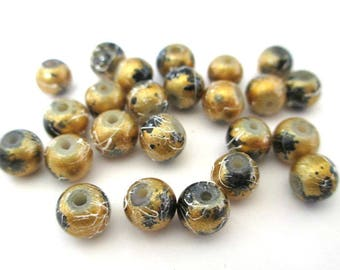 20 beads painted shiny gold speckled and drawbench 6mm glass (C-26)
