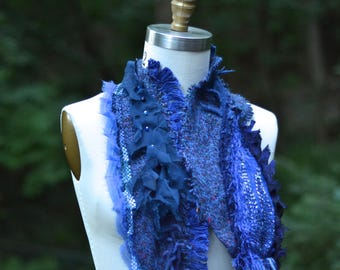 Blue long SCARF Wrap with ruffle, beaded appliqué, fringes. Woodland Fantasy Scarf, boho textured scarf, OOAK refashioned unique Scarf Wrap