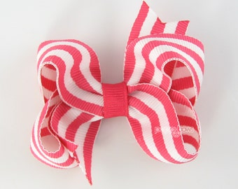 French Pink and White Striped Hair Bow - Baby Toddler Girl Hairbow - 3 Inch Boutique Bow on Alligator Clip Barrette Preppy Taffy