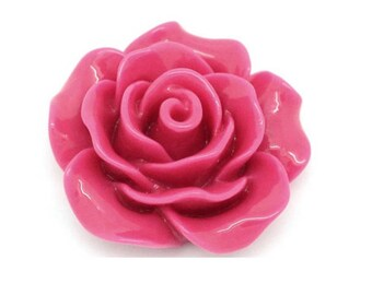 Set of 10 large 19 mm fuchsia pink resin cabochon flowers