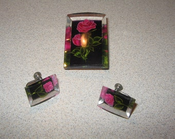 Lucite Rose  Pin and Earring Set Vintage Costume Jewelry #5452