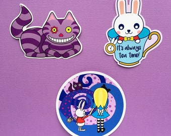 Alice in Wonderland sticker pack - laptop stickers - Disney stickers - vinyl stickers Cheshire Cat White Rabbit sticker