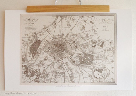 Antique Map Print of Paris eco paper France Made in Canada Seine Europe Eiffel Tower Travel Voyage Abroad City
