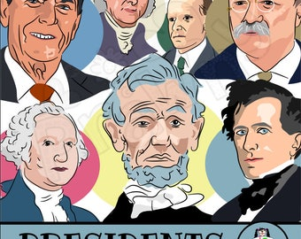 American Presidents Clip Art - Political Illustrations - ClipArt Male Portraits - Government - Abraham Lincoln - George Washington - Graphic