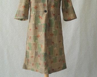 Vintage 60s 70s mod collar geometric leaf print shirt pinafore dress Size 12