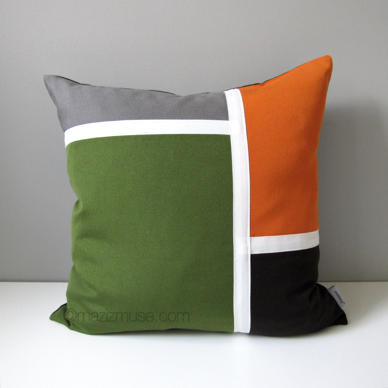 decorative pillow cover modern color block pillow case olive. Black Bedroom Furniture Sets. Home Design Ideas