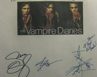 The Vampire Diaries Signed TV Script Screenplay X11 Autographs Nina Dobrev Paul Wesley Ian Somerhalder Steven R. McQueen Sara Canning rpnt