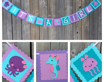 Under The Sea ITu0027S A GIRL Banner, Under The Sea Baby Shower Banner, Purple  Blue Teal Pink, Crab Seahorse Octopus Jelly Fish, Made To Order