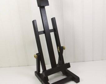 Large BLACK Easel, 17 inch Adjustable Tabletop Wood Folding Easel, Banquet Display Sign Holder