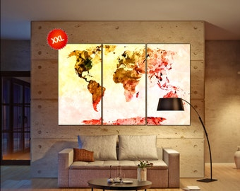 canvas wall art map  print on canvas wall art canvas wall art map Art Print artwork large world map Print home office decoration
