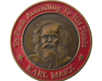 3D Karl Marx Pin - Antique Gold Plating - Hand Inlaid Hard Enamel