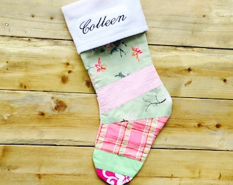 Christmas Stocking:Pretty in Pink and Green