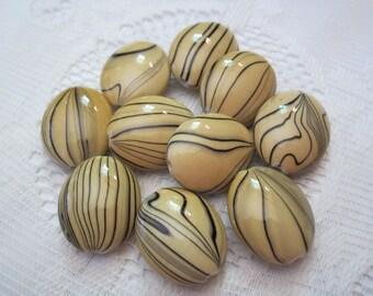5 Tan & Black Striped Oval Acrylic Beads  24mm x 20mm