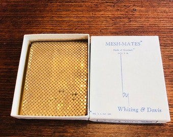Vintage Whiting & Davis Gold Mesh Wallet. Mesh Mates Made in the USA New in Box.