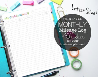 Monthly Mileage Log PDF Printable Planner Page, Inserts - Small Business and Etsy Shop, Letter Size