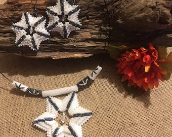 Starlight Choker Necklace Earring Set 3D Stars