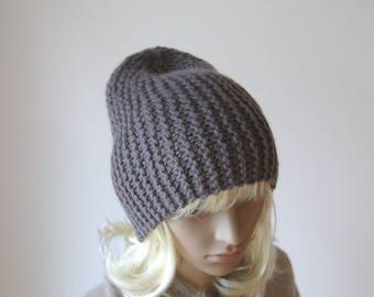 Alpaca wool slouchy beanie hat Grey slouchy beanie Hand knit hat Slouchy beanie hat Chunky slouchy hat Knitted wool beanie hat
